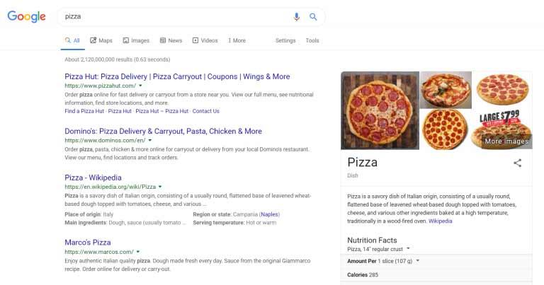 """صفحه نتایج موتور های جستجو برای """"پیتزا"""""""