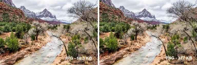 تفاوت بین PNG و JPEG در حجم